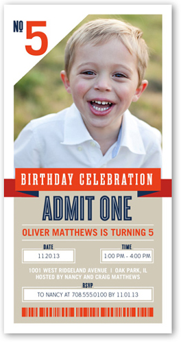 One Awesome Ticket Birthday Invitation by Float Paperie