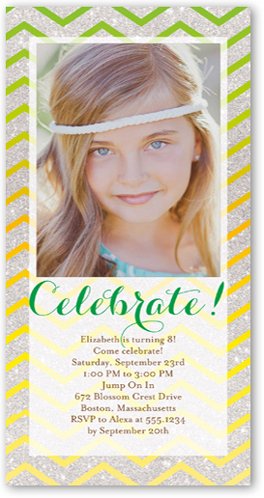 Chevron Shimmer Birthday Invitation by Poppy Studio