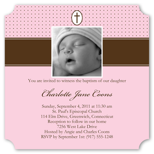 Cocoa Ribbon Rose Baptism Invitation by Blonde Designs