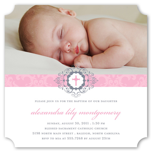 Damask Ribbon Rose Baptism Invitation by Vanilla Print