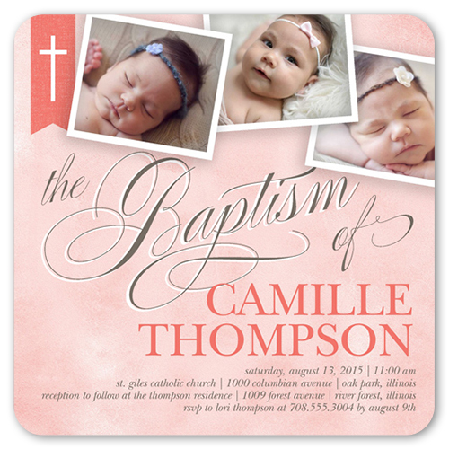 Cross Ribbon Girl Baptism Invitation by Float Paperie
