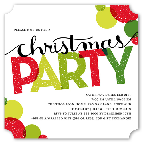 Bright Fun Bubbles Holiday Invitation by Stacy Claire Boyd
