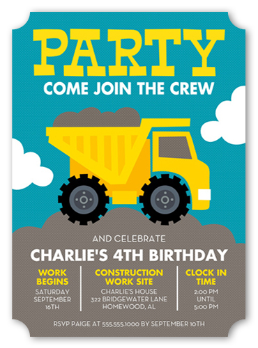 Party Truck Birthday Invitation by Stacy Claire Boyd