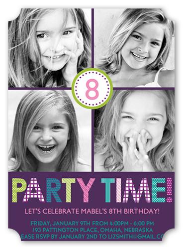 Playful Prints Purple Birthday Invitation by Petite Lemon
