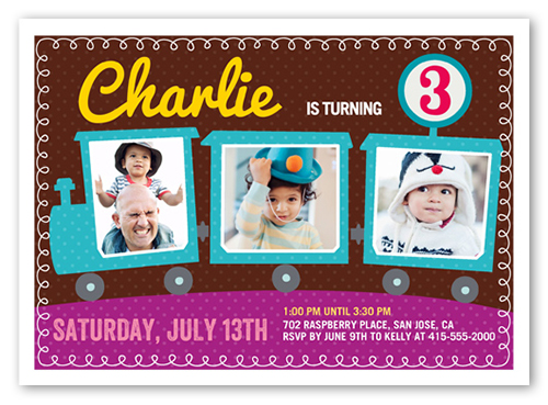 Party Train Birthday Invitation by Yours Truly