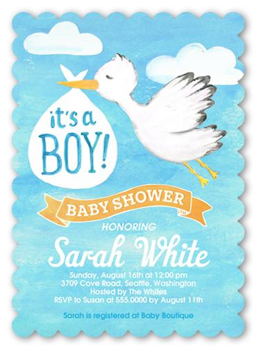 stork boy 5x7 greeting card baby shower invitations shutterfly