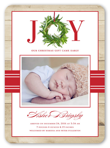 Joyful Wreath Boy Birth Announcement By Stacy Claire