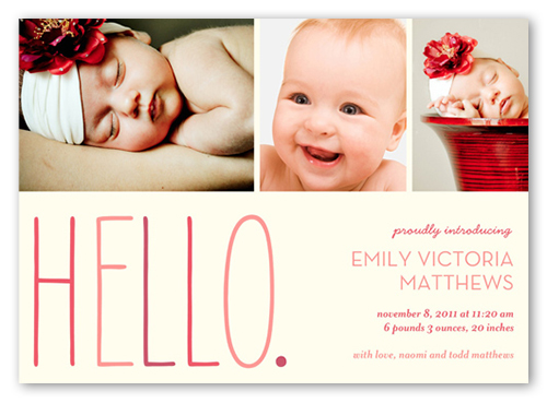 Hello Baby Girl 5x7 Stationery Card