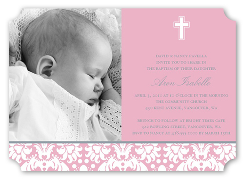 Baptism Baroque Pink Baptism Invitation by Petite Lemon