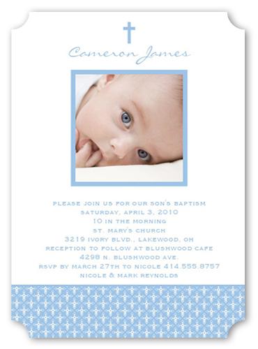 Angelic Cross Blue Baptism Invitation by Petite Lemon
