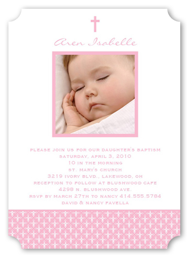 Angelic Cross Pink Baptism Invitation