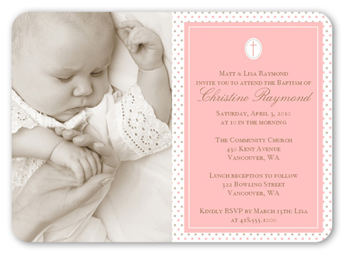 Seraphic Dots Pink Baptism Invitation by Blonde Designs
