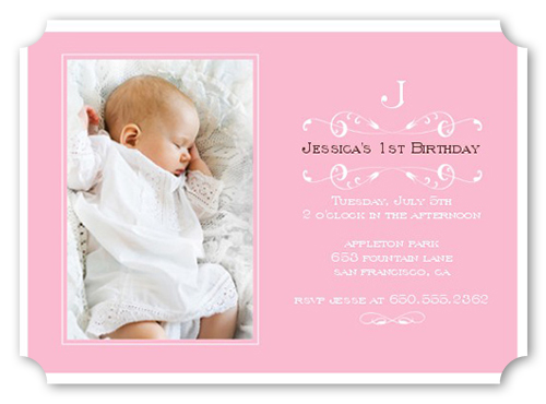 Elegant Pink Baptism Invitation