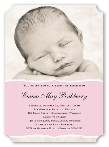 Pretty Precious Pink Baptism Invitation