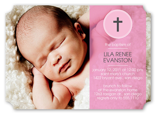 Blessed Baby Pink Baptism Invitation