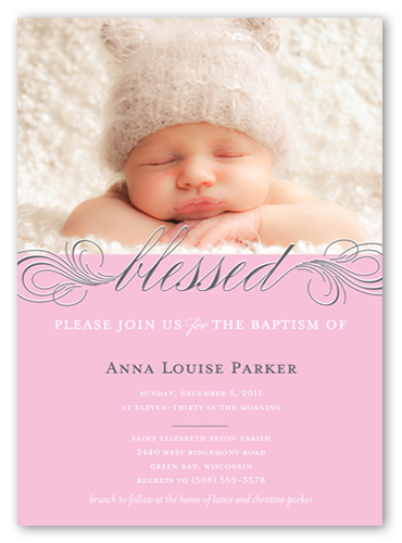 Little Blessed Rose Baptism Invitation by Float Paperie