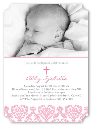 Victorian Rose Baptism Invitation by Vanilla Print