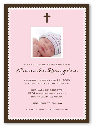 Faithfully Pink Baptism Invitation by Stacy Claire Boyd