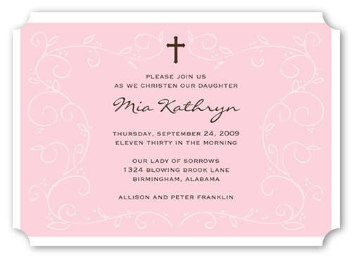 Pink Faith Baptism Invitation