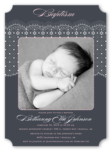 Elegant Lace Girl Baptism Invitation by Petite Lemon