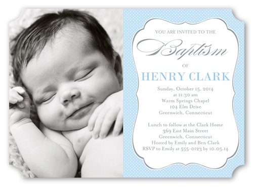 Lovely Script Boy Baptism Invitation by Blonde Designs