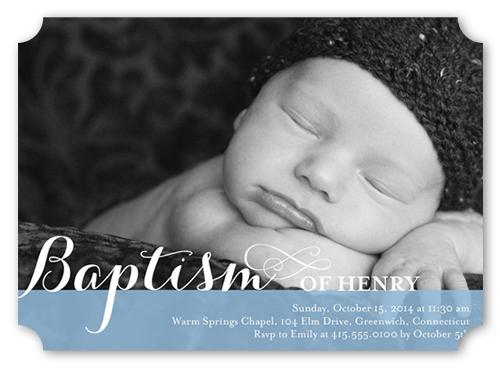 Precious Swirls Boy Baptism Invitation by Blonde Designs