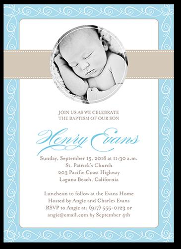 Elegant Swirls Boy Baptism Invitation by Blonde Designs