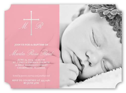 Divine Cross Girl Baptism Invitation by Float Paperie