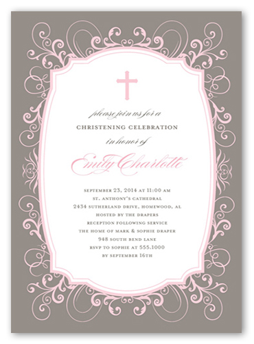 Flourished Border Girl Baptism Invitation by Stacy Claire Boyd