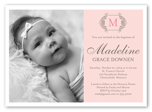 Vintage Monogram Girl Baptism Invitation by Blonde Designs
