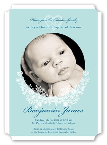 Cherished Flourish Boy Baptism Invitation by Paper Plains