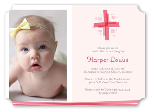 Modern Cross Girl Baptism Invitation by Paper Plains
