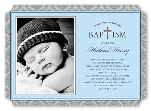 Radiant Cross Boy Baptism Invitation