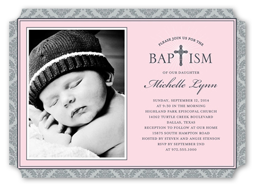 Radiant Cross Girl Baptism Invitation