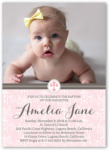 Elegant Cross Girl Baptism Invitation by Blonde Designs