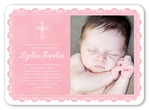 Delicate Lace Girl Baptism Invitation by Stacy Claire Boyd