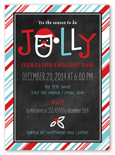 Jolly Striped Frame Holiday Invitation by Petite Lemon