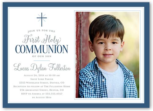 Faithfully Framed Boy Communion Invitation by Stacy Claire Boyd