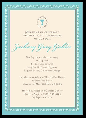 Framed Chalice Boy Communion Invitation by Blonde Designs