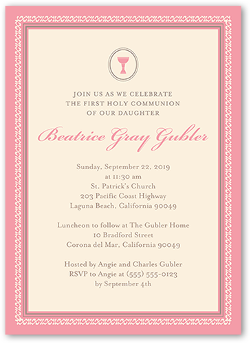 Framed Chalice Girl Communion Invitation by Blonde Designs