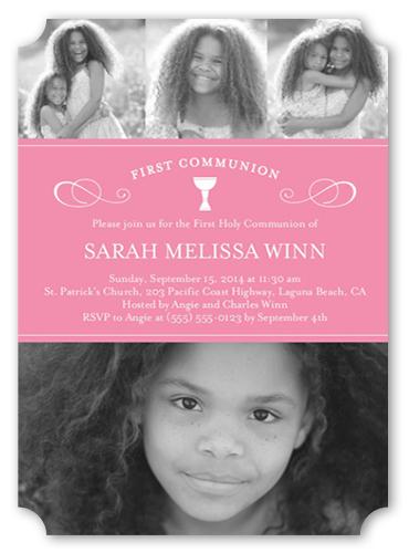 Flourished Chalice Girl Communion Invitation by Blonde Designs