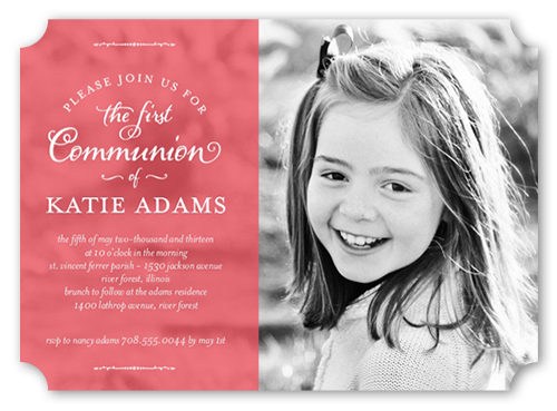 Shining Day Girl Communion Invitation by Float Paperie