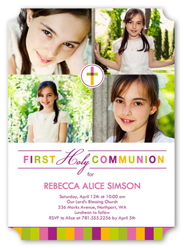 Colorful Cross Girl Communion Invitation
