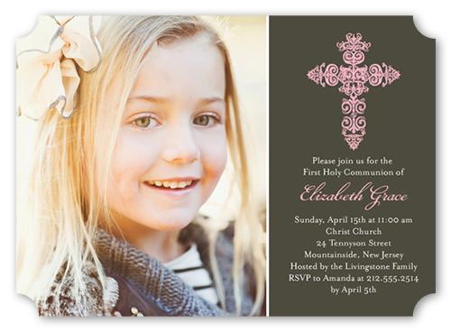 Gaelic Cross Girl Communion Invitation by Poppy Studio