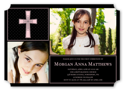 Polka Dot Cross Girl Communion Invitation by Yours Truly