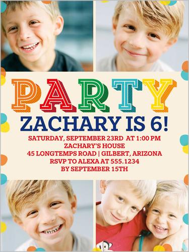 Party Colors Birthday Invitation by Poppy Studio