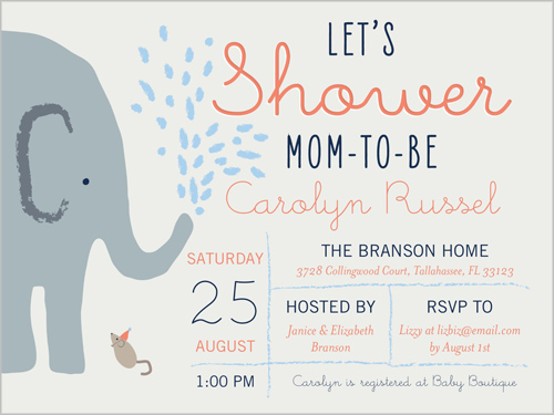 Elephant Shower Boy Baby Shower Invitation by Clover: www.shutterfly.com/designs/baby-shower-landscape-invitation