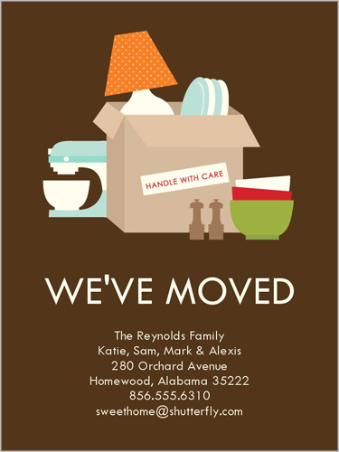 moving home cards template - all boxed up 4x5 stationery card moving announcements