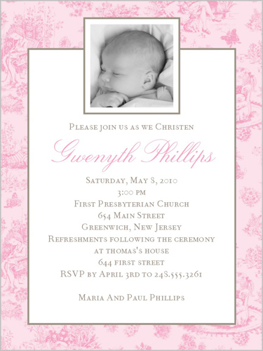 Jolie Bebe Pink Baptism Invitation by Stacy Claire Boyd