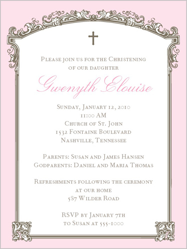Baptism Trumeau Pink Baptism Invitation by Stacy Claire Boyd